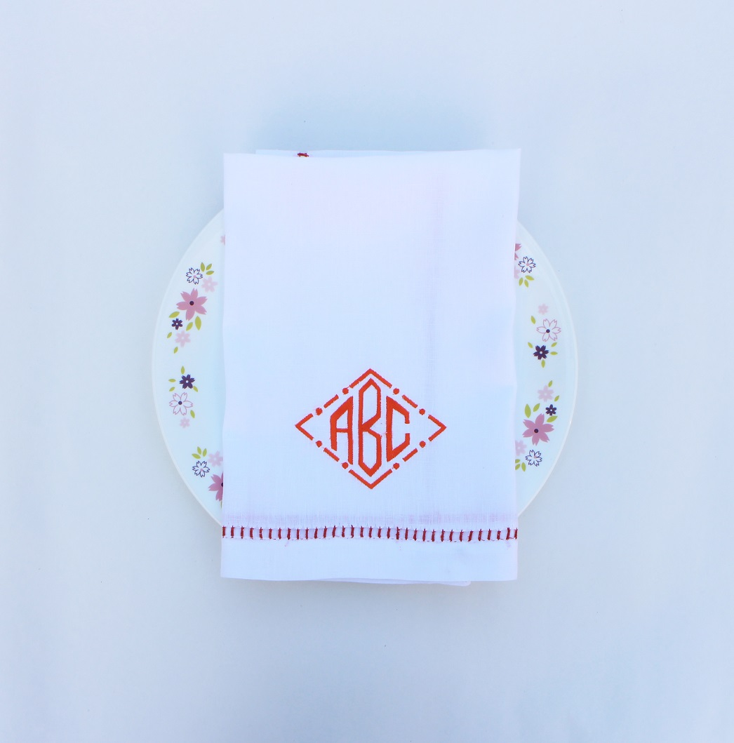 Hand hemstitch dinner napkin with monogram