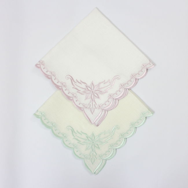 Embroidered border linen napkin