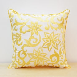 Damask Design with Diamond Pattern Embroidery Pillow Cover