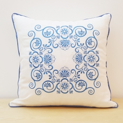 Floral Embroidered Pillow Cover with Curly Vines