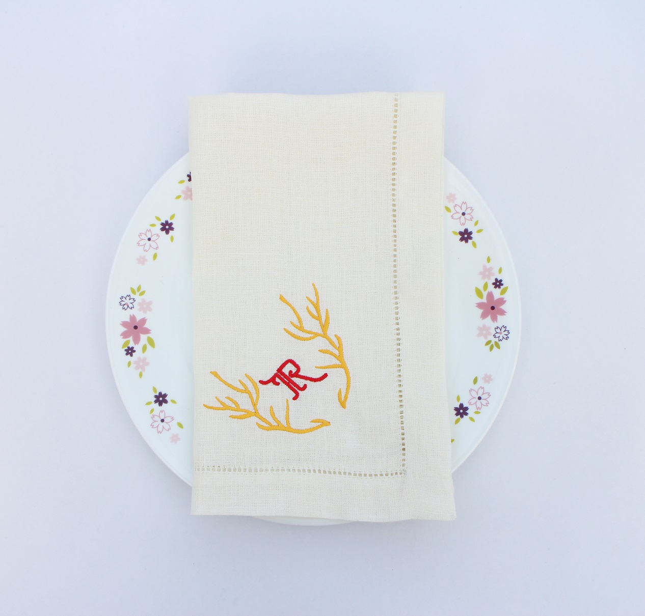 Monogram Christmas deer embroidered dinner napkin