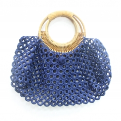 Ring Embroidery Bag with Waxed Rattan Handle