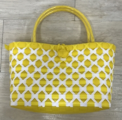 Colorful Plastic Straw Woven Tote Bag