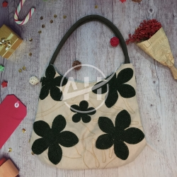 Embroidery Suede Shoulder Bag with Floral Chenille Design