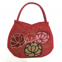 Embroidered Suede Shoulder Bag With Lotus Chenille Design