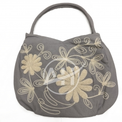 Linen Embroidered Shoulder Bag With Flower Chenille Design