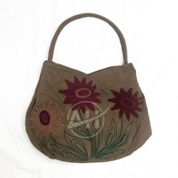 Sunflower Chenille Embroidered Suede Bag