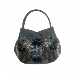Vietnam Chenille Embroidery Bag With Flowers Designs On Suede Fabric