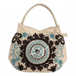 Damask Embroidered Shoulder Handbag