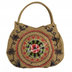 Mandala Embroidery Bag Tangle Patterns Suede Handbag