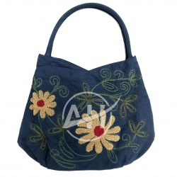 Handmade Navy Suede Embroidered Woman Shoulder Handbag