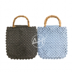 Plastic Ring Bag Handmade Crochet Bag with D Shape Bamboo Handle