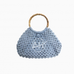 Crochet Ring Style Shoulder Bag with Round Bamboo Handle