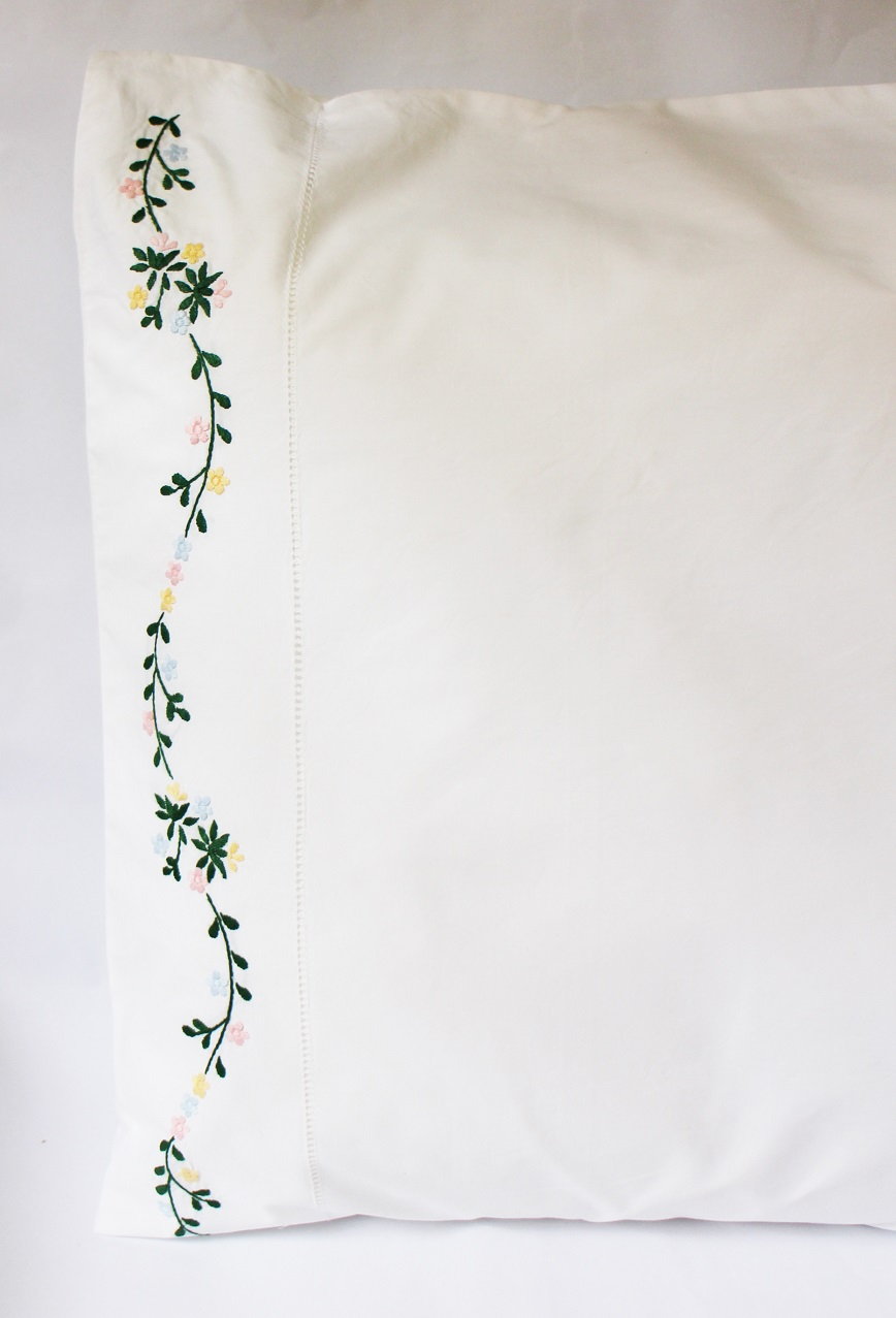Colorful flowers hand embroidered hemstitched pillowcase
