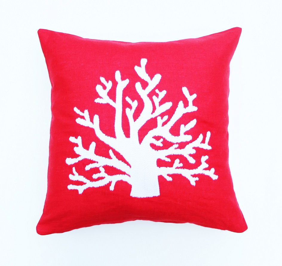 Beach house coral embroidered red linen cushion