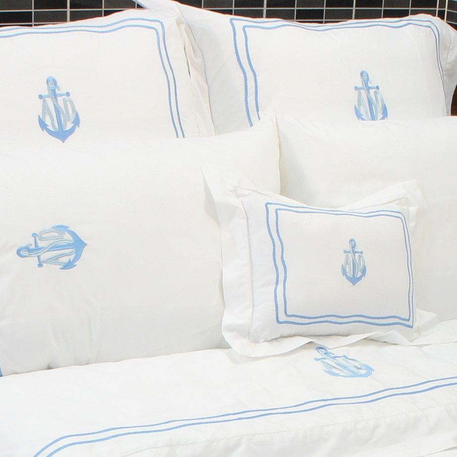 Anchor and rope embroidered and monogram bedding set in sky blue