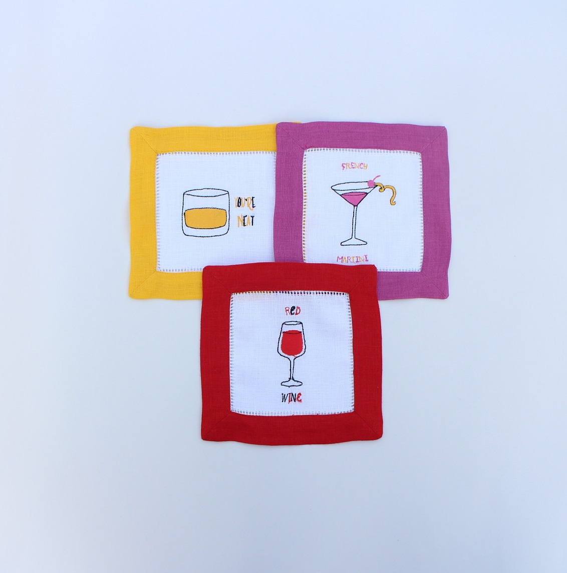 Cocktails embroidered cocktail napkins with matching borders