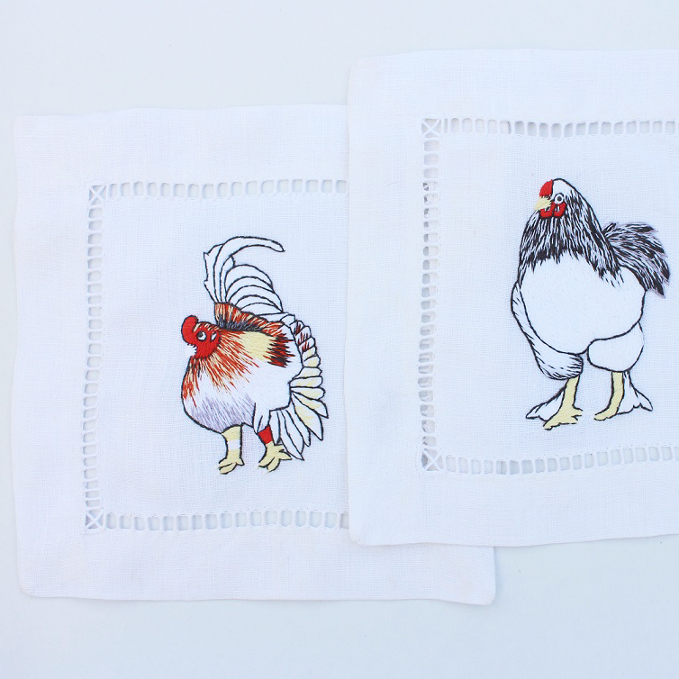Rooster hand embroidered hemstitched cocktail napkins