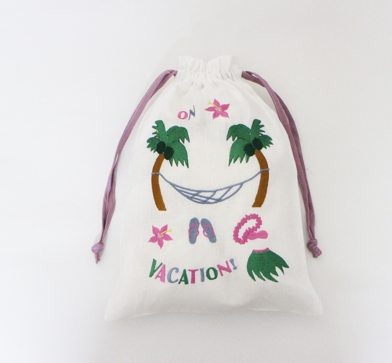 On vacation linen lingerie bag