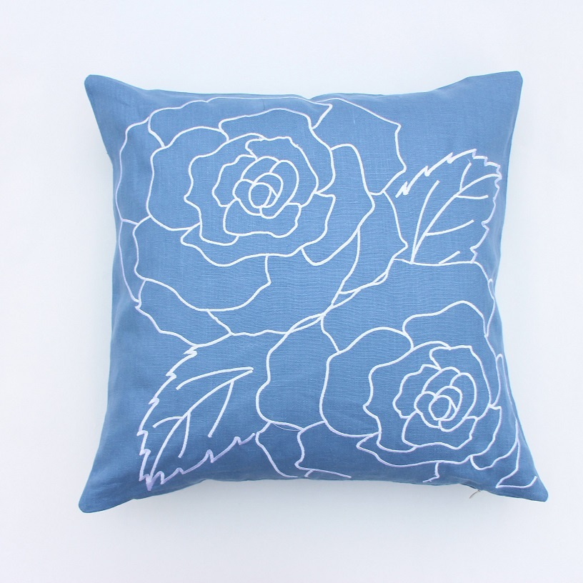 Rose embroidered blue linen cushion cover