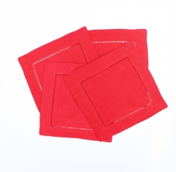 Red linen cocktail napkins or hemstitched cocktail napkin