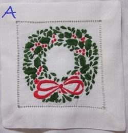 Christmas themed embroidered cocktail napkins