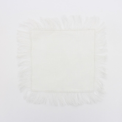 Fringed linen cocktail napkins