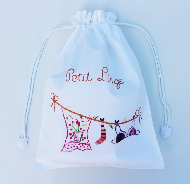 Hand Embroidery Cotton Drawstring Laundry Bags