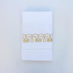Hand embroidery pillowcase with hemstitch in gold