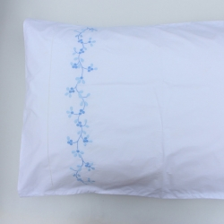 Blue flowers hand embroidery pillow covers with hemstitch