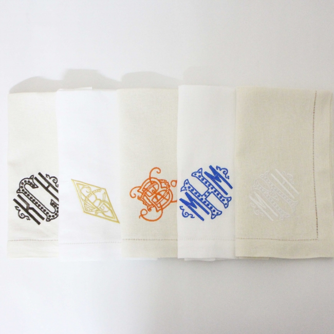 linen monogram napkins with hemstitch and embroidery
