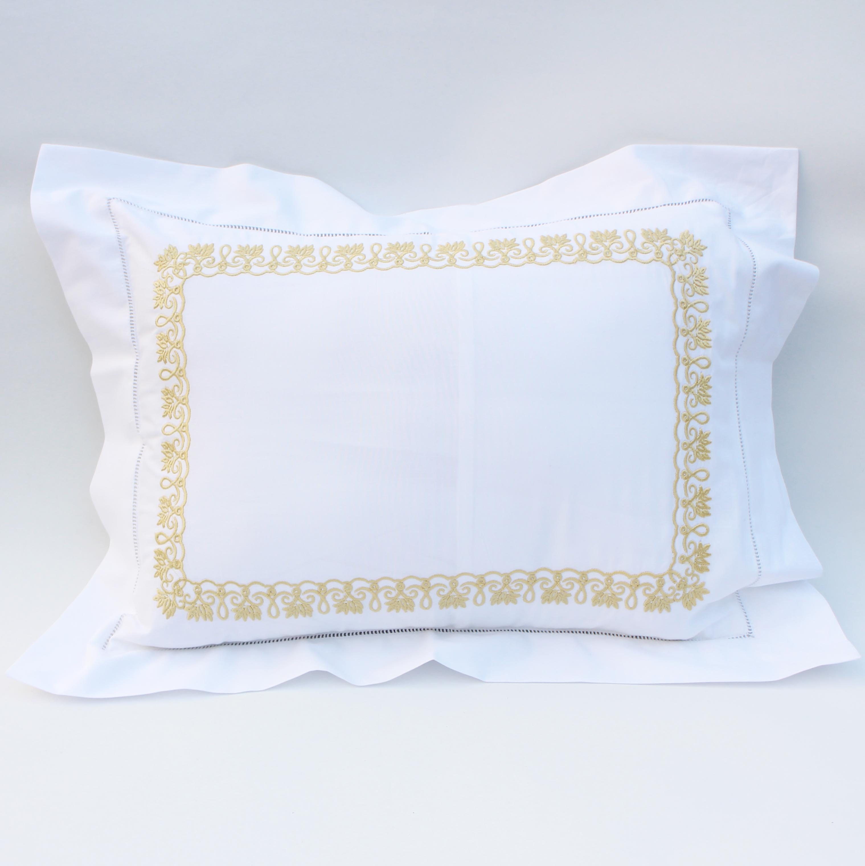 Embroidery cotton  decorative pillow with hemstitch