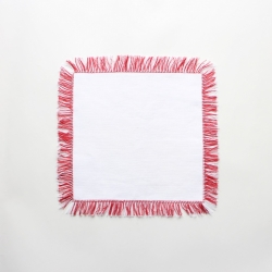 Red fringed linen cocktail napkins