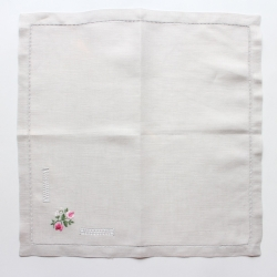 Pink flowers embroidered hemstitched linen table napkin