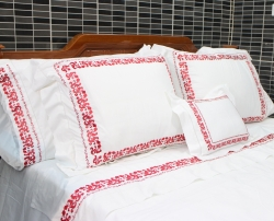 Flowers embroidered bedding set with hemstitch in red hue