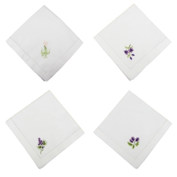 Handmade floral embroidered cotton napkin