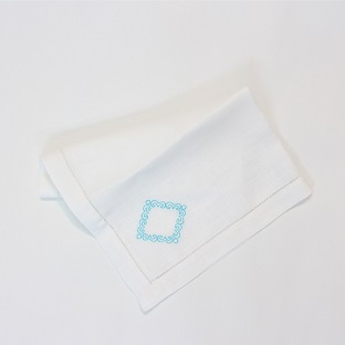 Square border embroidered linen napkin
