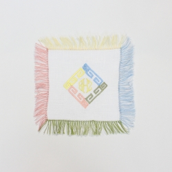 Mixed colors fringed linen cocktail napkins