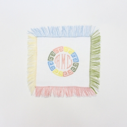 Colorful fringed linen cocktail napkins