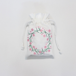 Flowers wreath cotton drawstring pouch bag