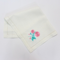 Flowers embroidered hemstitched linen table napkin