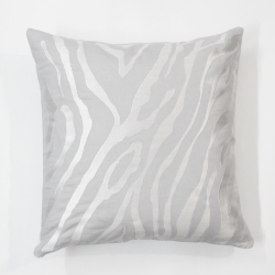 White tiger stripes embroidered linen decorative pillow cover