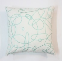 Abstract circles embroidered cushion cover