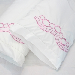 Hot pink flowers embroidered cotton hemstitched pillowcases