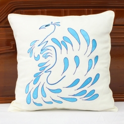 Peacock embroidered cushion cover