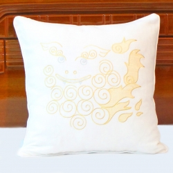 Okinawa shisa lion embroidered linen decorative pillow cover