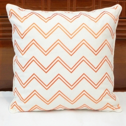 Chevron embroidered linen decorative