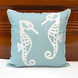 Sea horse pillow cover with pipping