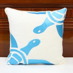 Ivory linen decorative pillow with sky blue sea turtles embroidery