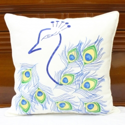 Peacock feathers embroidered pillow cover with pipping